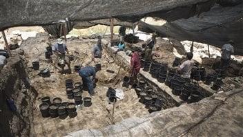 Fouilles sur le site archéologique de Tell Hazor dans le nord d'Israël, le 9 juillet 2013.