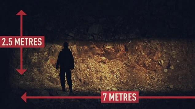 Le tunnel mesurait 2,5 m de hauteur et 7 m de longueur.