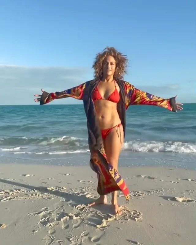 Jennifer Lopez in a red bikini.