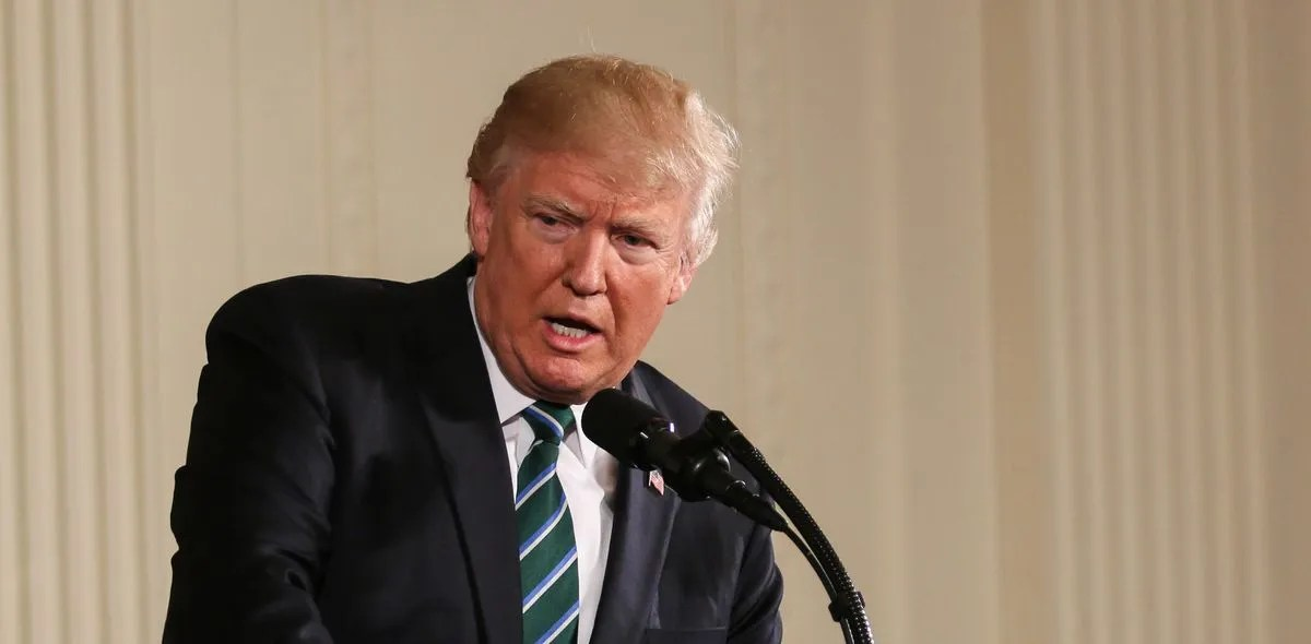 Former President Donald Trump speaks at a press conference.