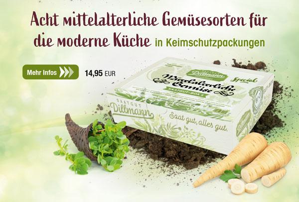 Mittelalterliche Gemüse-Saatgut-Box