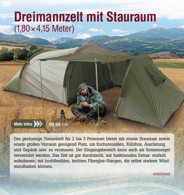 Dreimannzelt mit Stauraum - 1,80 x 4,15 m
