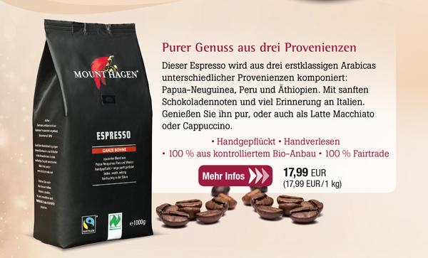 Mount Hagen Bio Espresso ganze Bohne