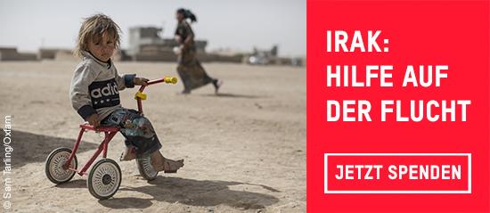 Der kleine Jasm (Name geändert) musste mit seinen Eltern vor den Kämpfen im Mossul-Korridor fliehen.