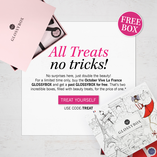 No surprises here, just double the beauty! For a limited time only, buy the October Vive La France GLOSSYBOX and get a past GLOSSYBOX for free.  That's two incredible boxes, filled with beauty treats, for the price of one.*    USE CODE: TREAT
