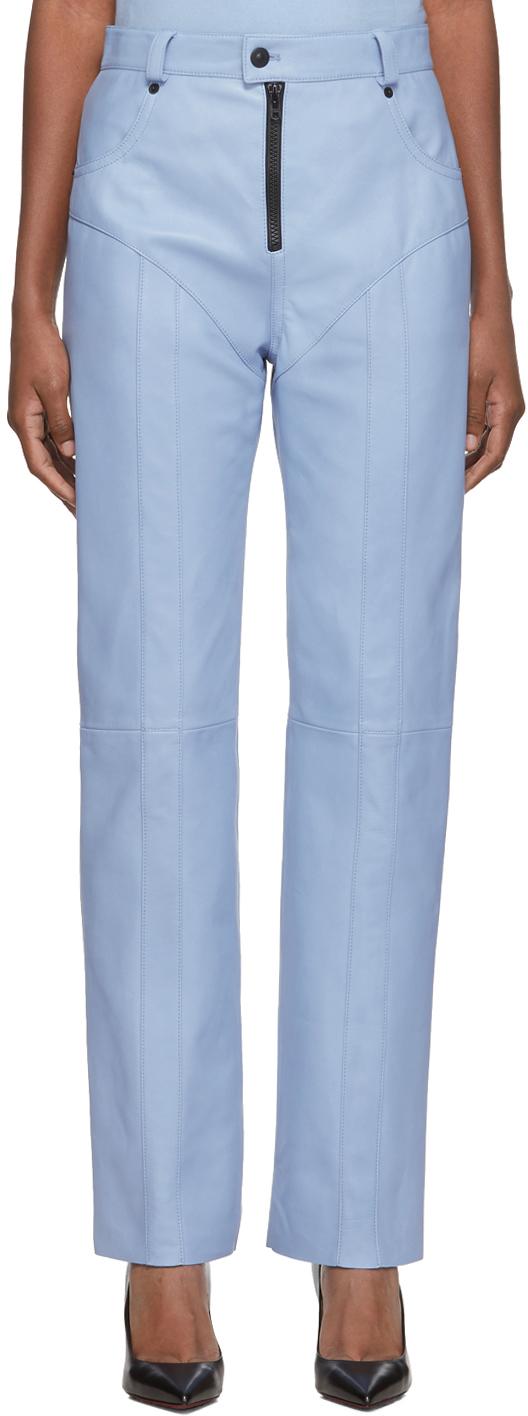 Kwaidan Editions Blue Leather Plongee Biker Trousers