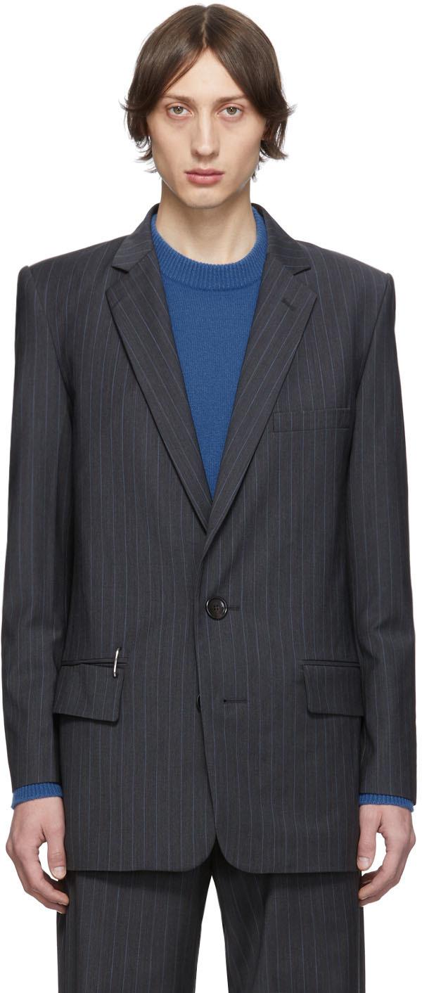 Tibi SSENSE Exclusive Grey Wool Pinstripe Long Blazer