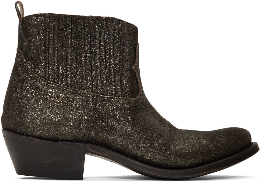 Golden Goose Black & Gold Glitter Crosby Boots