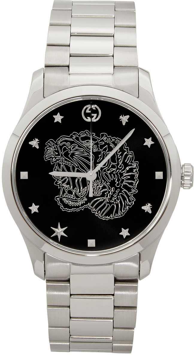 Gucci Silver G-Timeless Tiger Watch