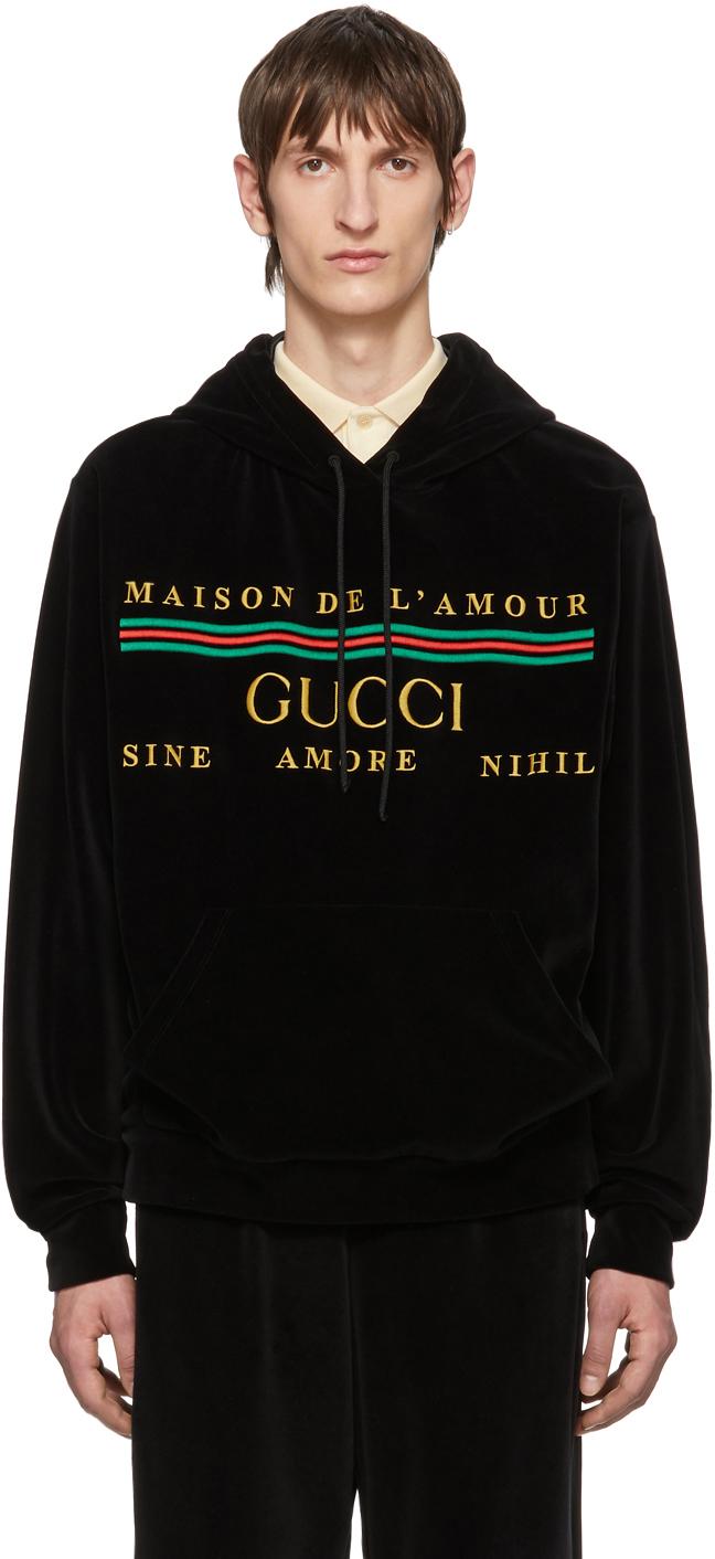 Gucci Black Cotton Chenille Hoodie