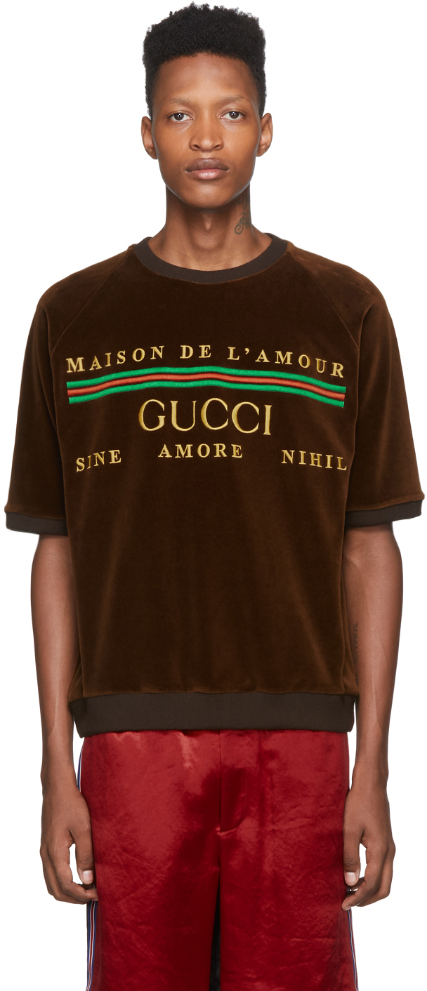 Gucci Brown Chenille 'Maison De l'Amour' T-Shirt