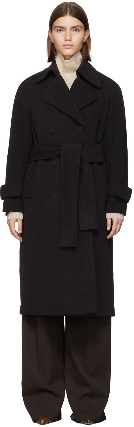 Harris Wharf London Black Oversized DB Wrap Coat