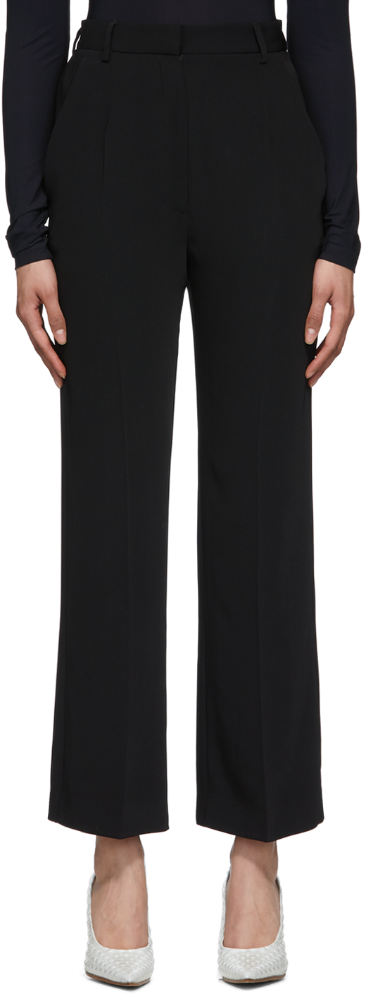 MM6 Maison Margiela Black Straight High-Waist Trousers