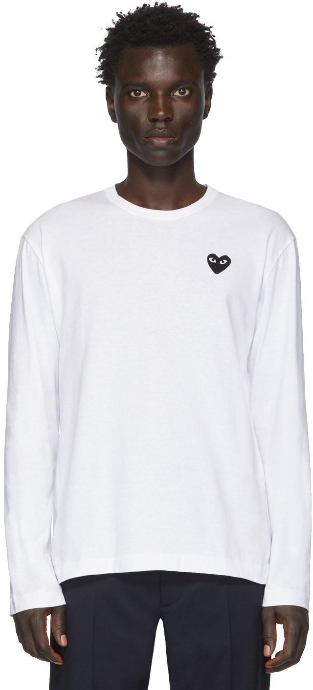 Comme des Garçons Play White & Black Heart Patch Long Sleeve T-Shirt