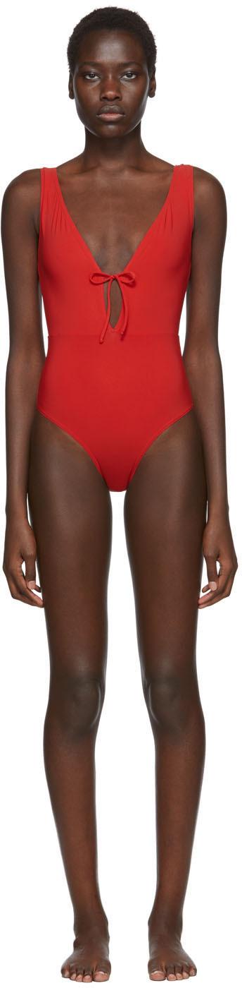 Rudi Gernreich Red Plunge One-Piece Swimsuit