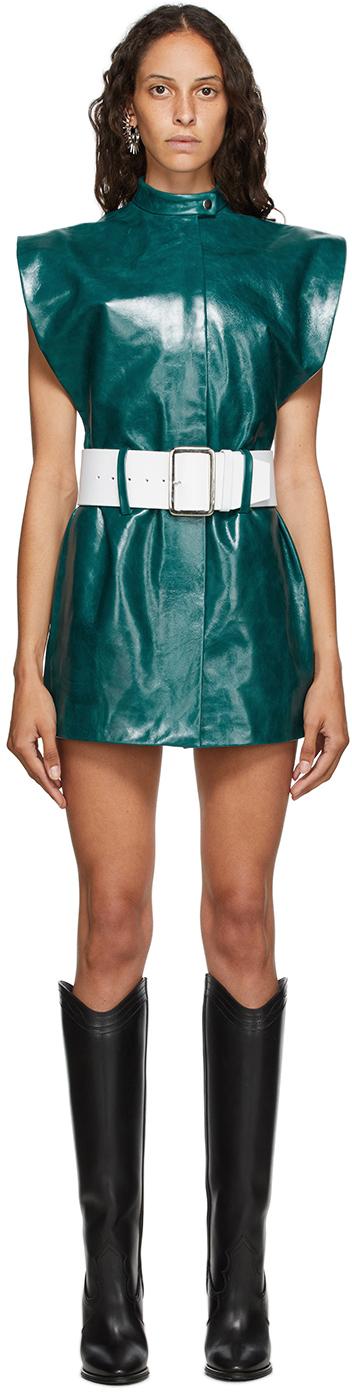 Mowalola Green Leather Vest Dress