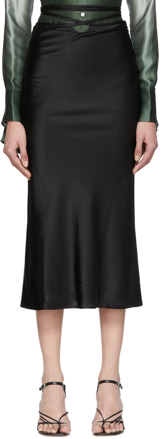 Christopher Esber Black Wrapped Tie Skirt