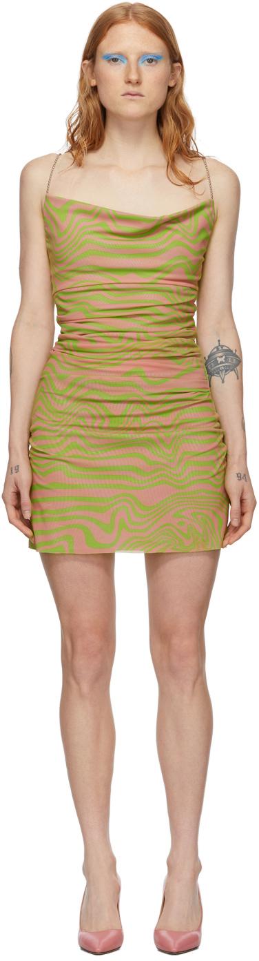 Maisie Wilen Pink & Green Mesh Slip Dress