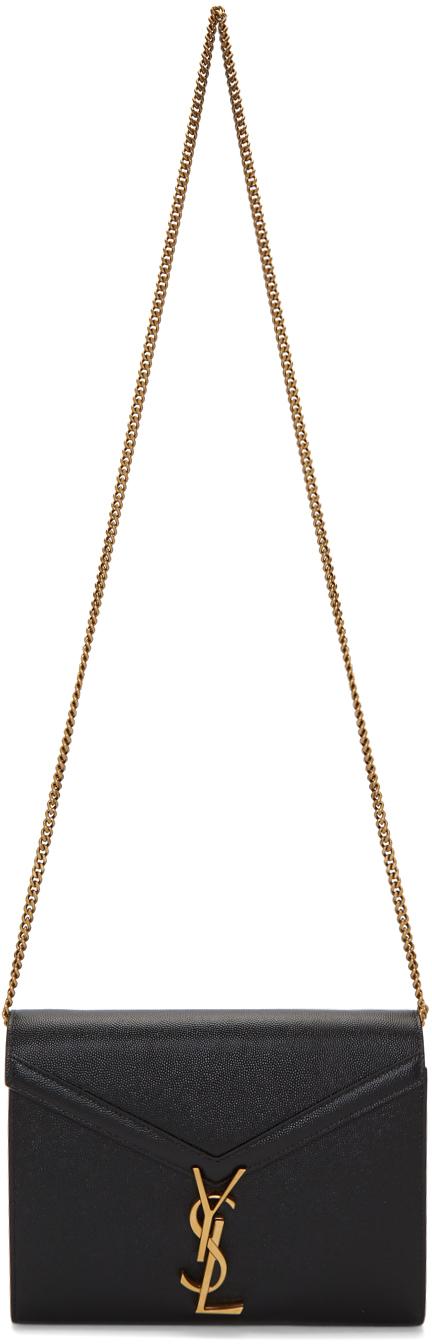 Saint Laurent Black Cassandra Chain Wallet Bag