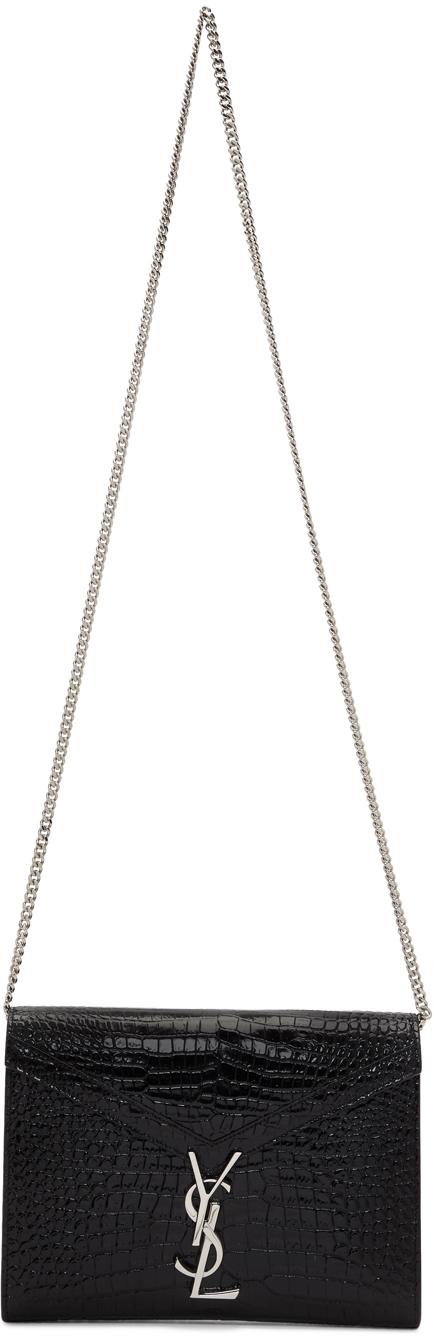 Saint Laurent Black Croc Cassandra Chain Wallet Bag