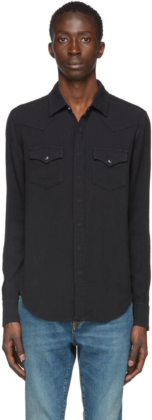 Saint Laurent Black Corduroy Western Shirt