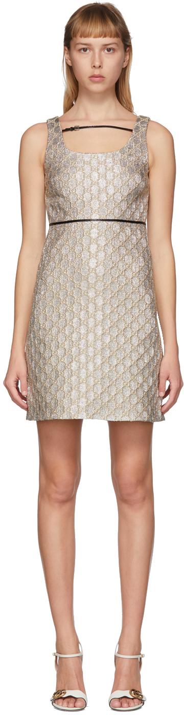 Gucci Silver Heritage GG Lamé Short Dress