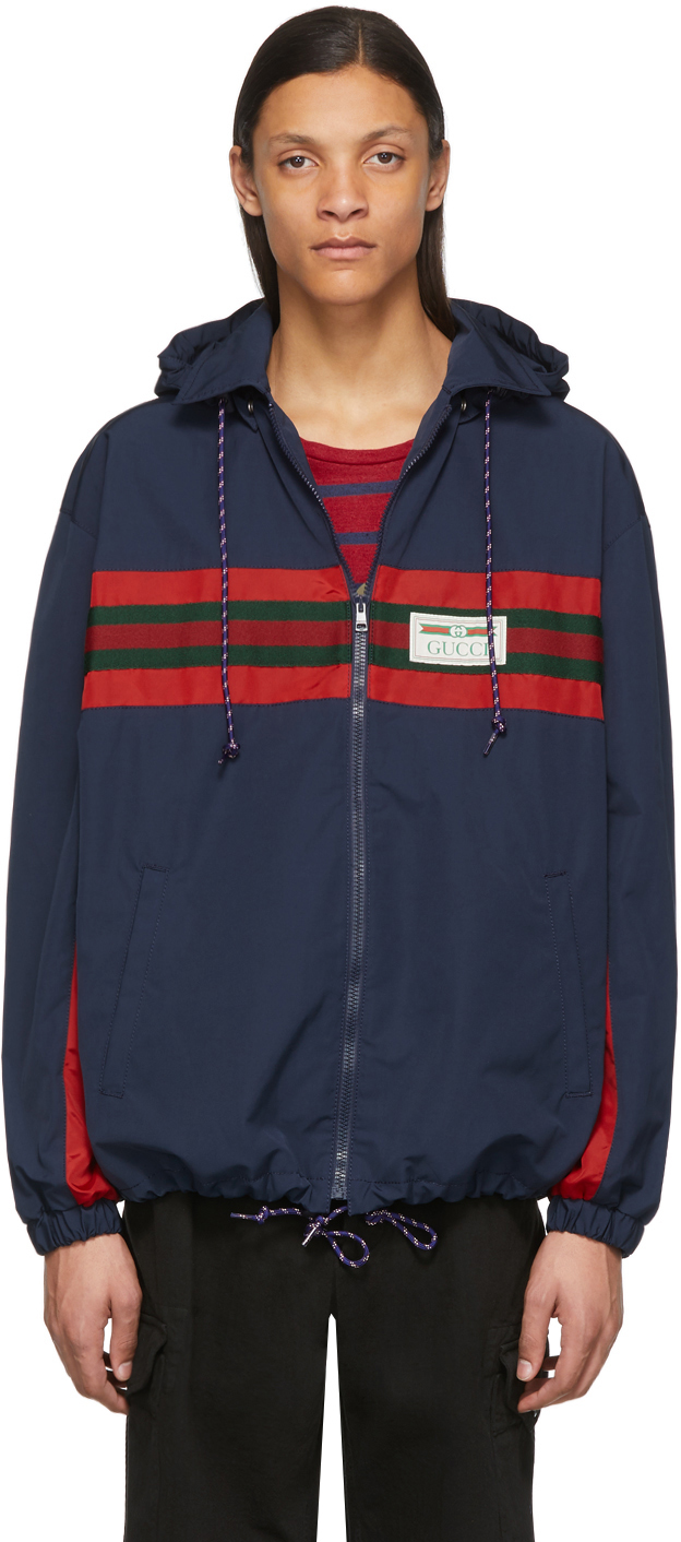 Gucci Navy & Red Technical Waterproof Jacket