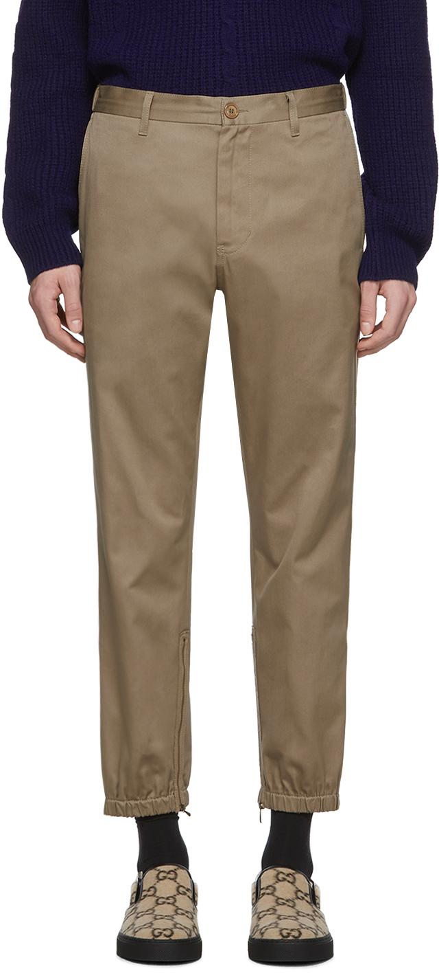 Gucci Khaki Stripe Trousers