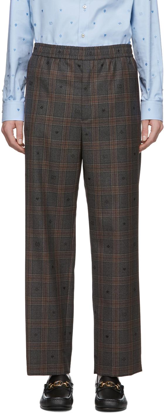 Gucci Grey Wool Symbols Check Trousers
