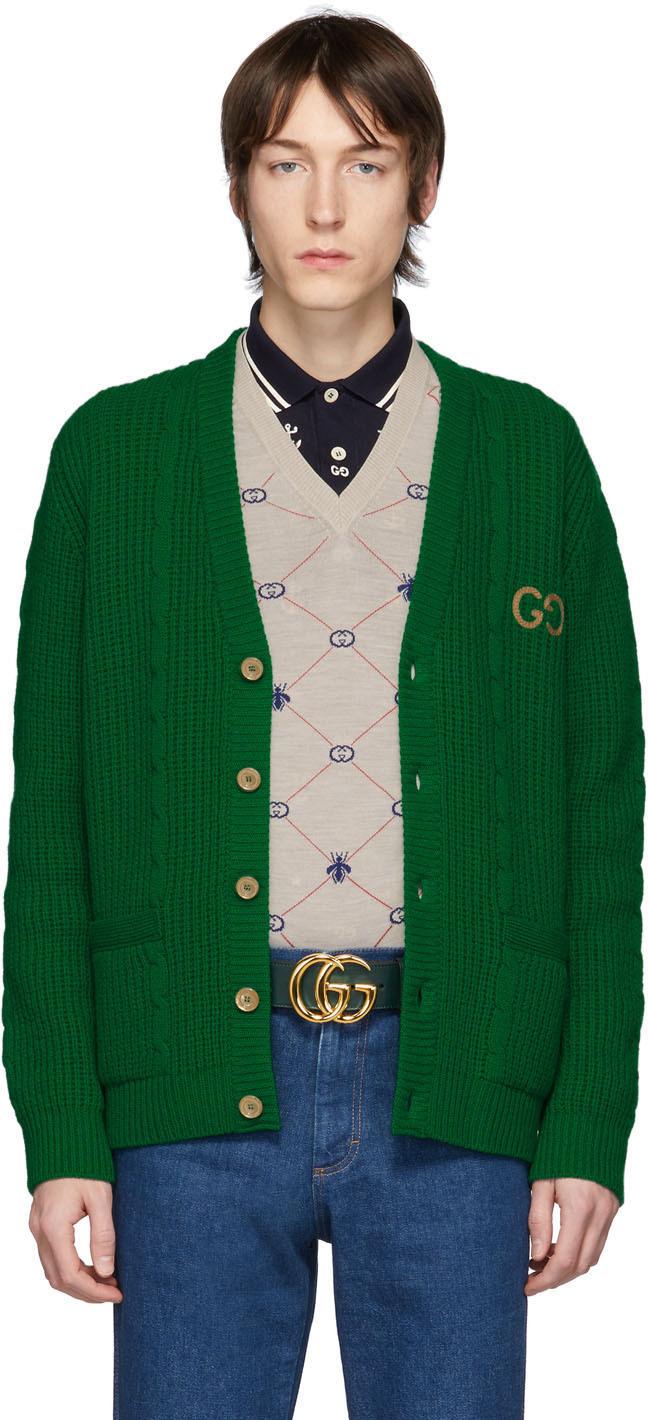 Gucci Green Wool GG Cardigan
