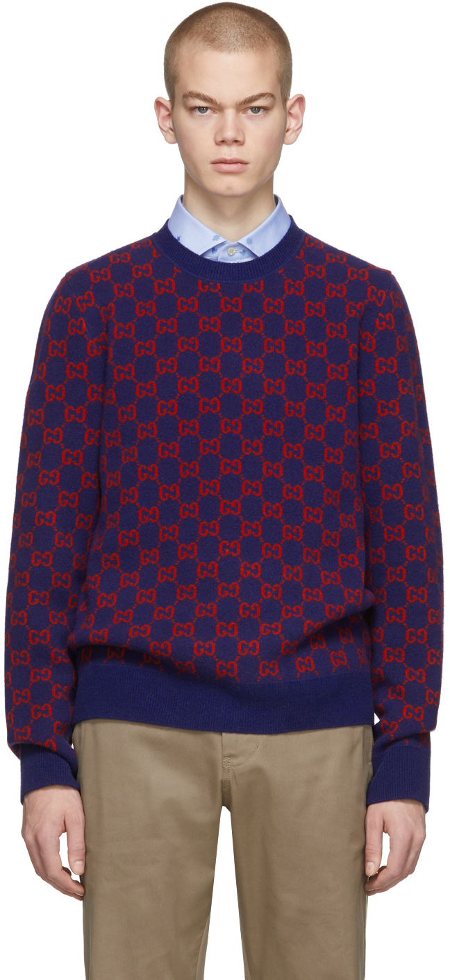 Gucci Blue & Red Wool Sweater