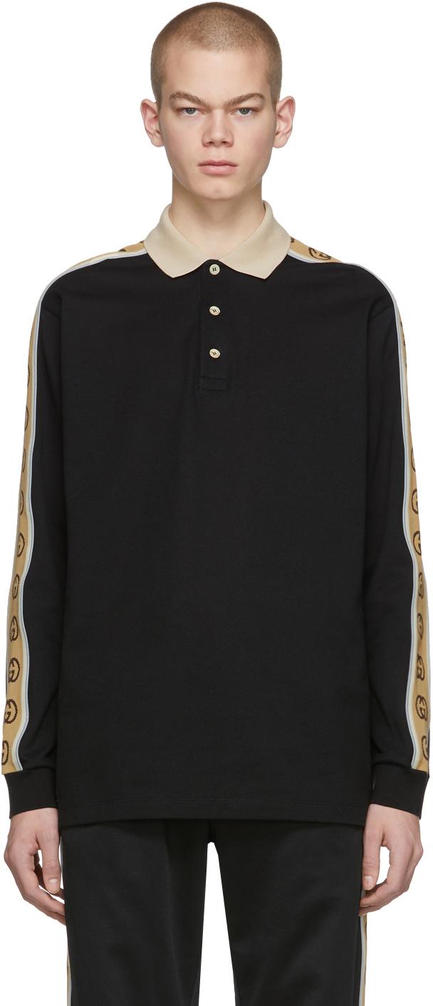 Gucci Black Cotton Piqué Long Sleeve Polo