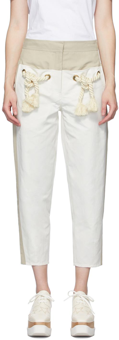 Stella McCartney Off-White & White Cropped Amanda Trousers