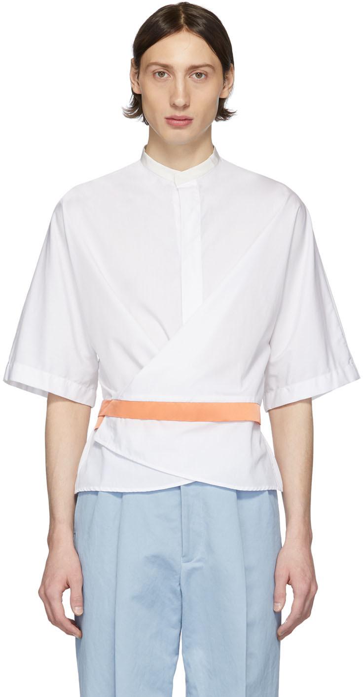Haider Ackermann White & Orange Silk Wrap Belt Shirt