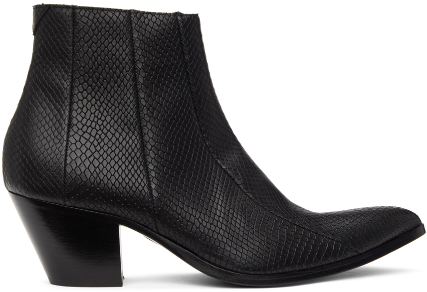 Pyer Moss Black Brother Vellies Edition Snake Chelsea Boots
