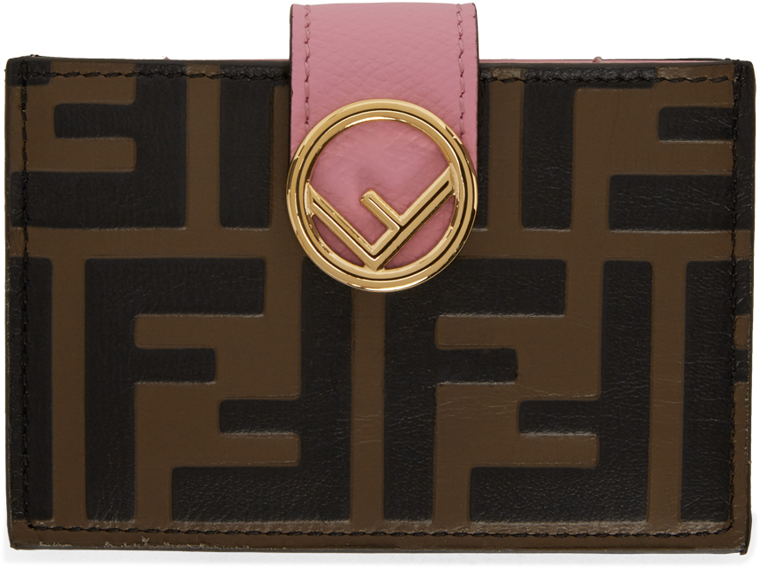 Fendi Brown & Pink 'Forever Fendi' 'F is Fendi' Card Holder