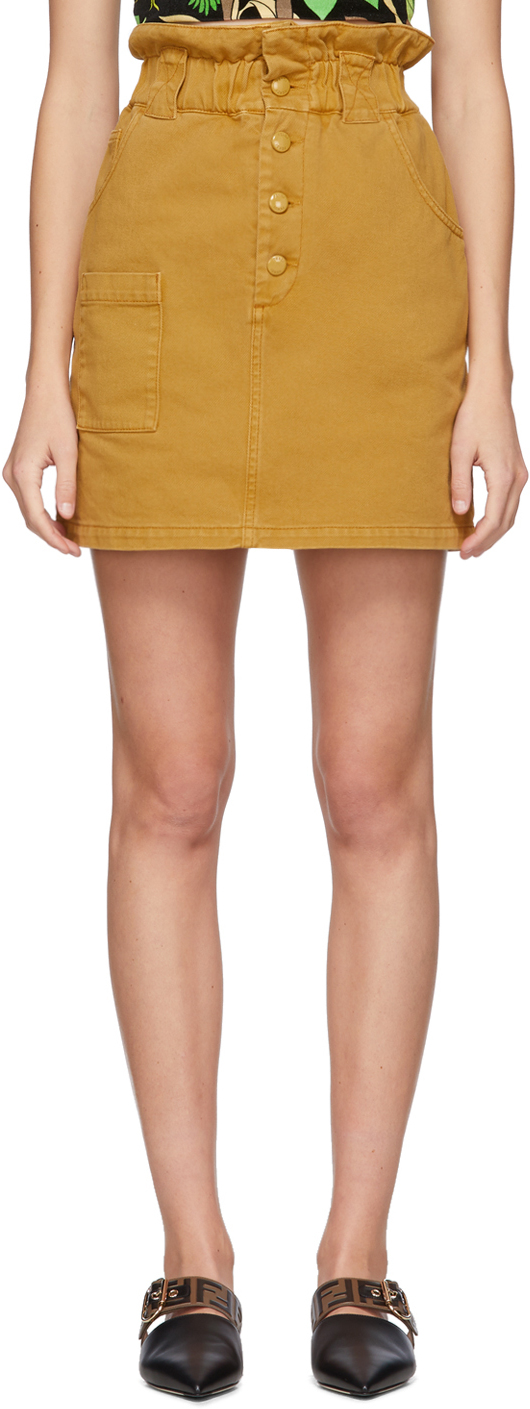 Fendi Tan Denim Button-Up Miniskirt