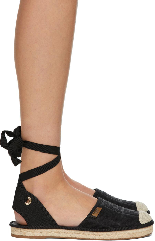 Fendi Black 'Forever Fendi' Ankle Strap Espadrilles