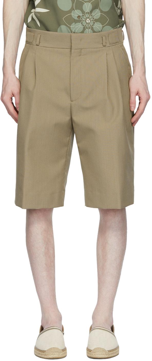 Fendi Tan Houndstooth Shorts