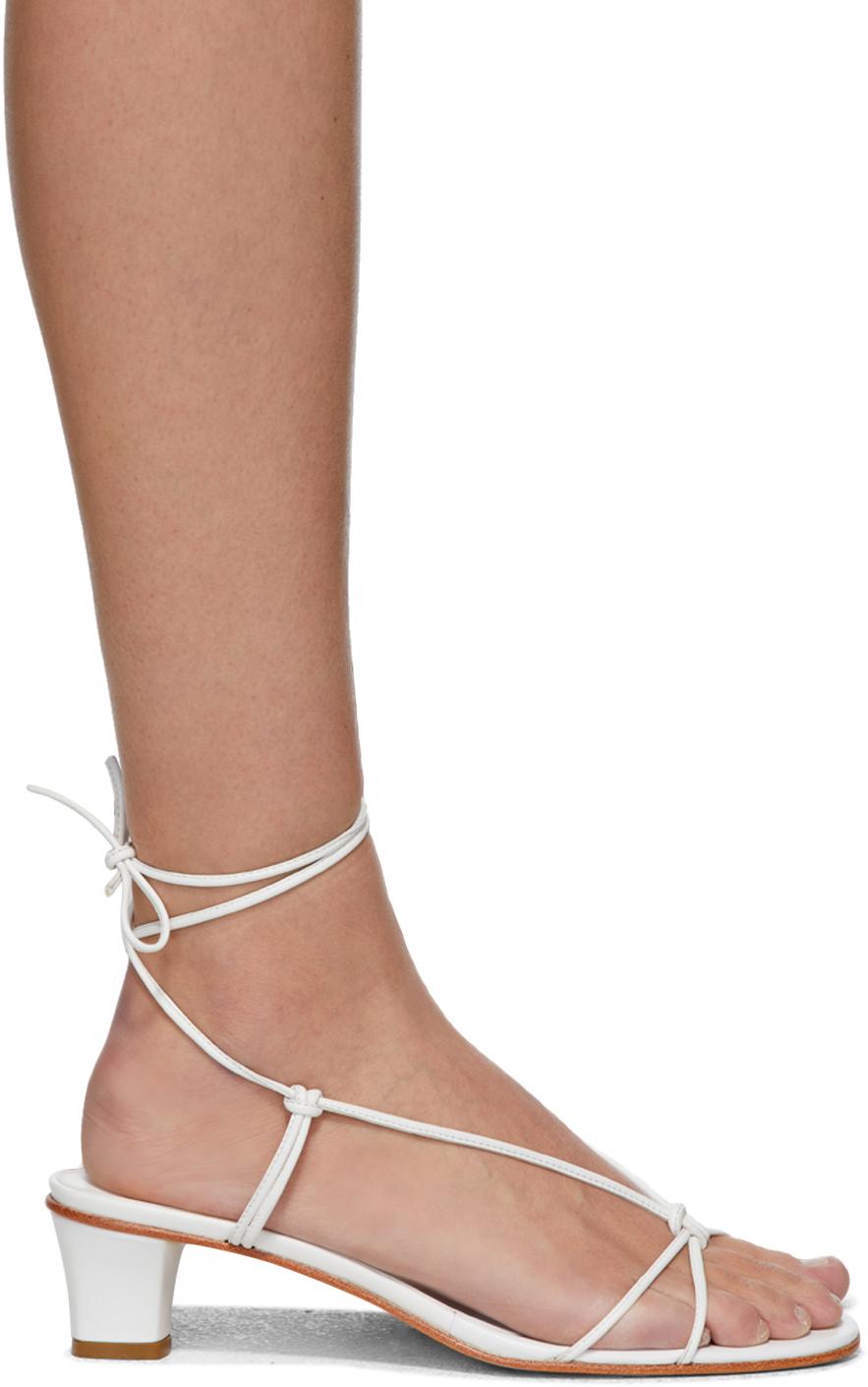 Martiniano White Spaghetti Heeled Sandals