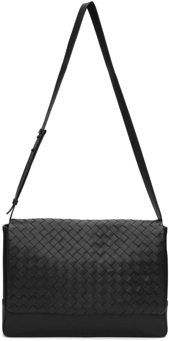 Bottega Veneta Black Medium Intrecciato Messenger Bag
