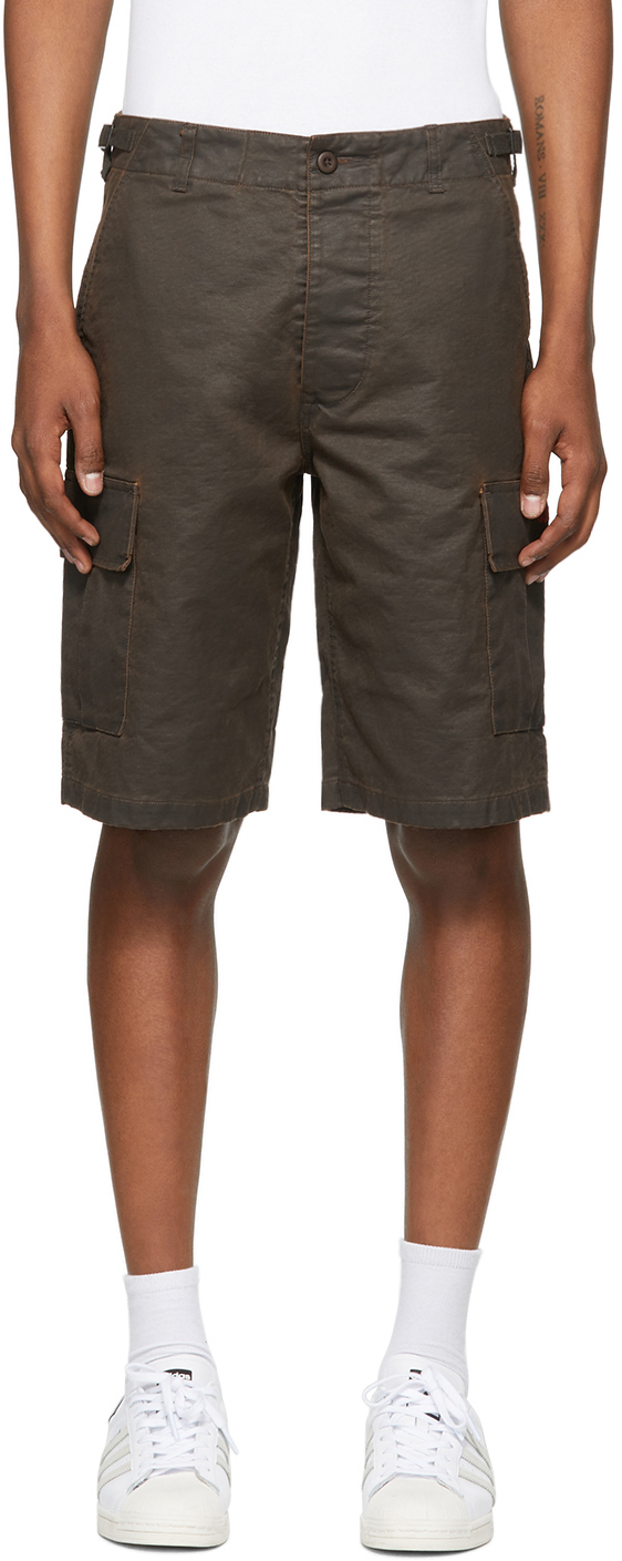 032c Brown Embroidered Logo Cargo Shorts