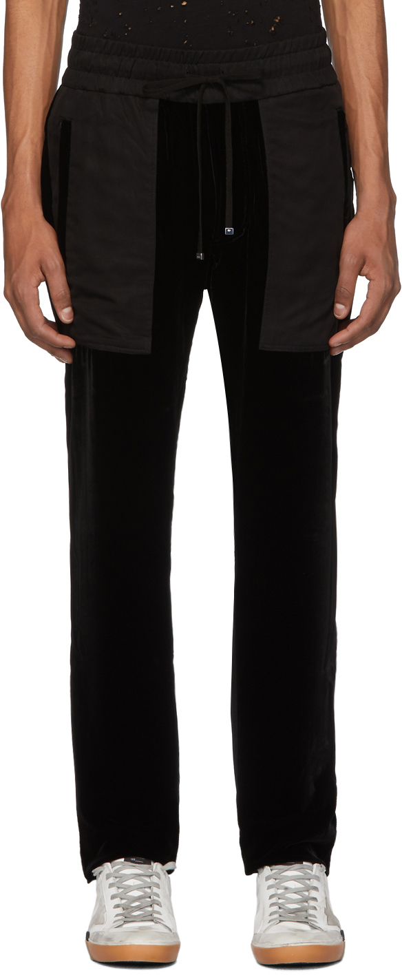 AMIRI Black Velvet Commando Patch Lounge Pants
