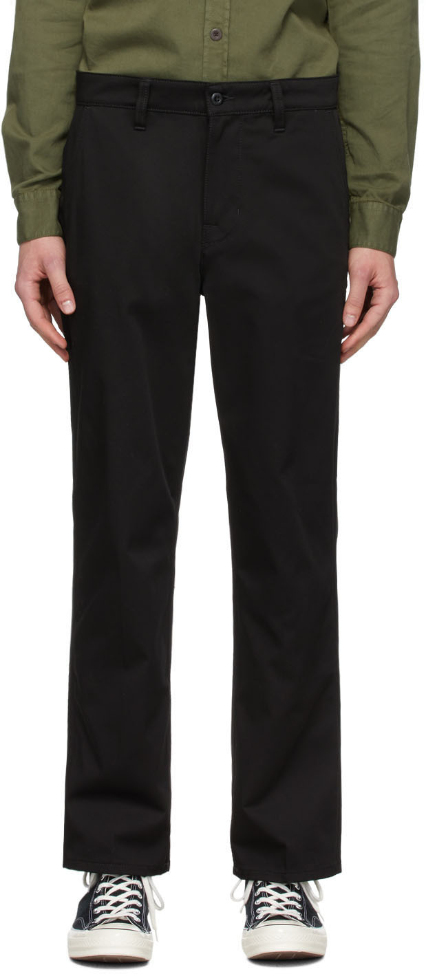 Nudie Jeans Black Lazy Leo Chino Trousers