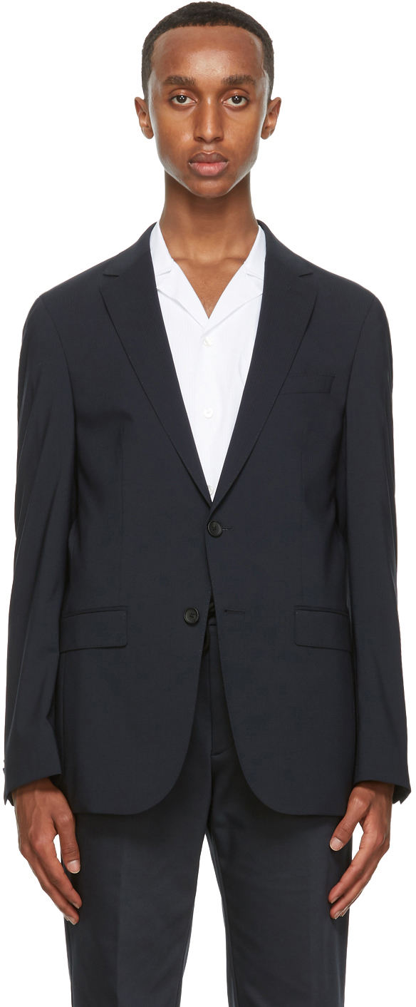 Boss Navy Crepe Wool Blazer