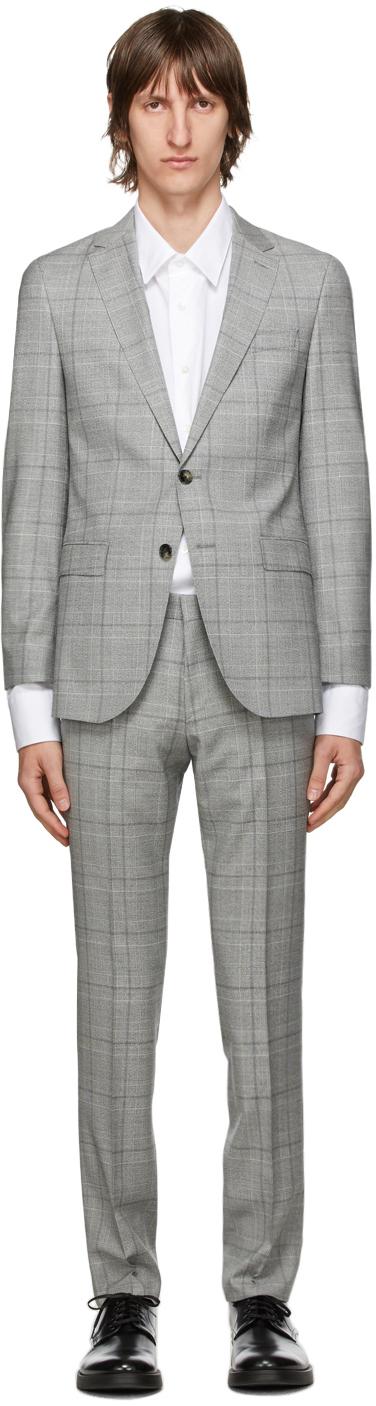 Boss Grey Checked Novan6 Ben2 Suit
