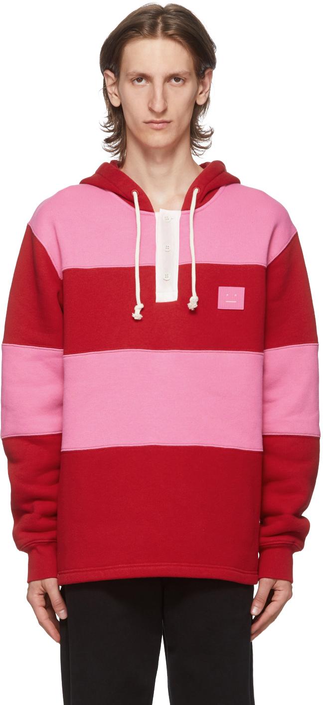 Acne Studios Red & Pink Rugby Hoodie