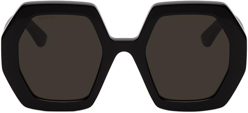 Gucci Black Hexagonal Sunglasses