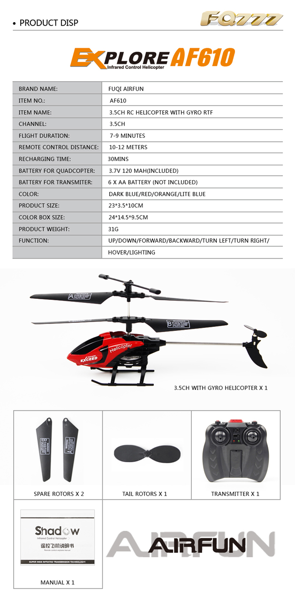 FQ777-610 AIR FUN 3.5CH RC Remote Control Helicopter With