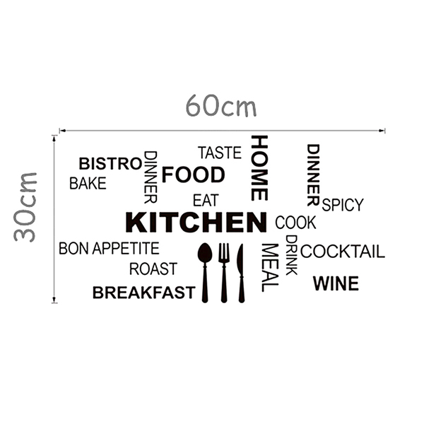 home decoration text kitchen wall decal sticker removable
